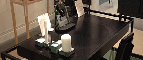 Bord och skåp av Snickeriet, stol av Färg & Blanche och ljuststake av Folkform, Mint Gallery.