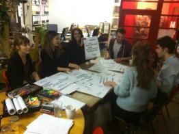De tyska deltagarna planerar inför projektveckan i april.