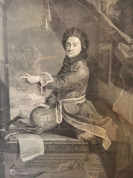 Kopparstick från 1741 av Jean Daullé (1703-1763) efter Robert Levrac-Tournères (1667-1752) av vetenskapsmannen Pierre Louis Moreau de Maupertuis i samedräkt.