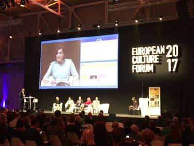 Det europeiska kulturforumet 2017 genomfördes i Milano. Här inne i den stora lokalen. Foto: Mikael Schultz