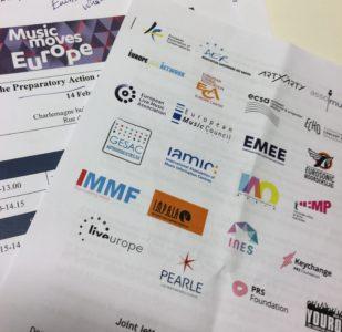 Här en bild på det brev till stöd för EU-kommissionens initiativ som europeiska musikorganisationer hade skickat ut dagen till ära. Foto: Mikael Schultz
