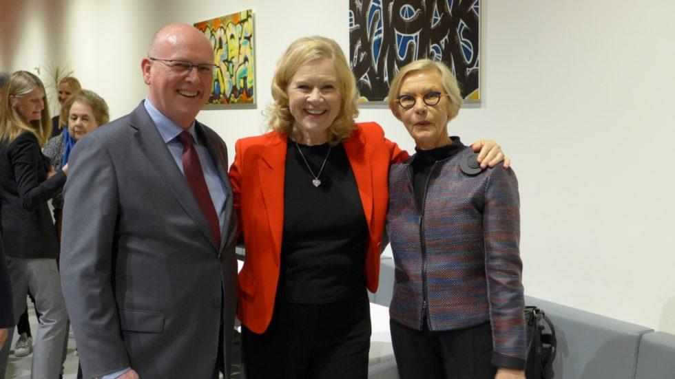 Jo Sletbak, generalkonsul norska konsulatet i San Francisco, Liv Ullmann, Barbro Osher, honorär generalkonsul svenska konsulatet i San Francisco