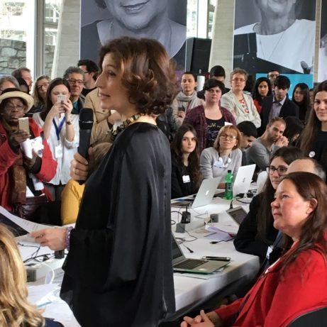 Unesco:s generaldirektör, tidigre kulturminister Audrey Azoulay inviger Wiki4Women, Sveriges Unesco-ambassadör Annika Markovic t höger