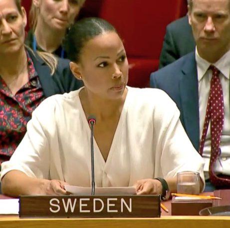 Alice Bah Kuhnke talar på FN.