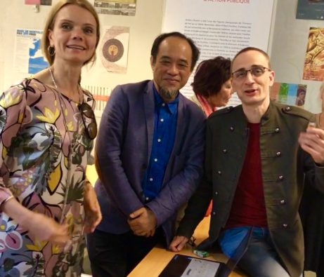 Sophie Allgårdh, konstkritiker under AICA konferens i Paris tillsammans med Tillsammans professor Lin Chi-Ming, ordförande i AICA Taiwan, och Richard Gregor, AICA Slovakien