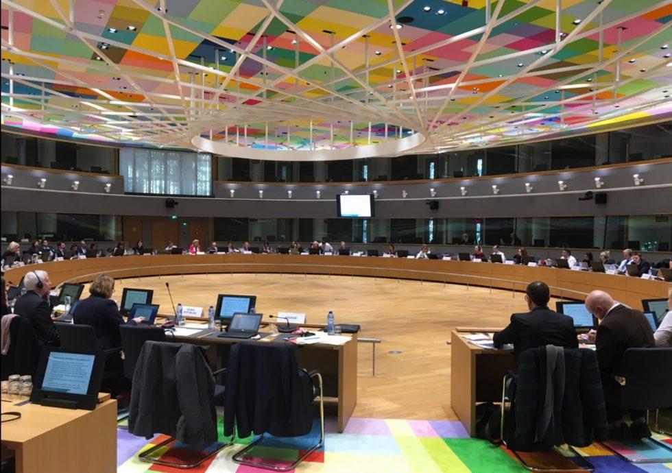 Mötesrummet i den nya Europabyggnaden där många ministermöten sker. Foto: Mikael Schultz