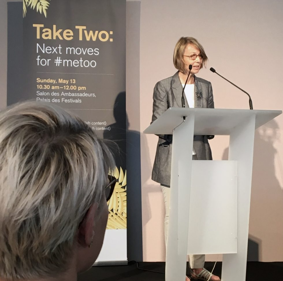 Franska kulturministern Francoise Nyssen vid sitt tal i Cannes i samband med Take Two: next moves for Metoo
