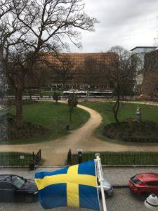 Utsikt från Sveriges ständiga representation vid EU onsdagen den 6 mars 2019, Square de Meeûs 30, Bryssel