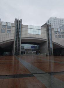 Europaparlamentets huvudentré i Bryssel (i typiskt Brysselväder?) Foto: Patrik Henrikssonj