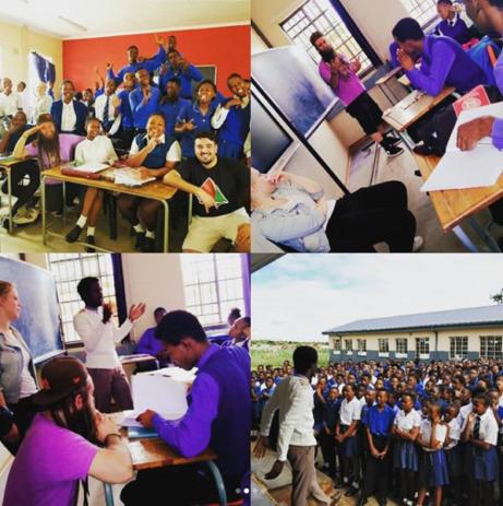 Skolbesök i township, bild från @kunghenrybowers, instagram.