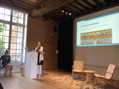 Maria Ridelberg-Lemoine, biträdande chef på SI Paris inleder seminariet