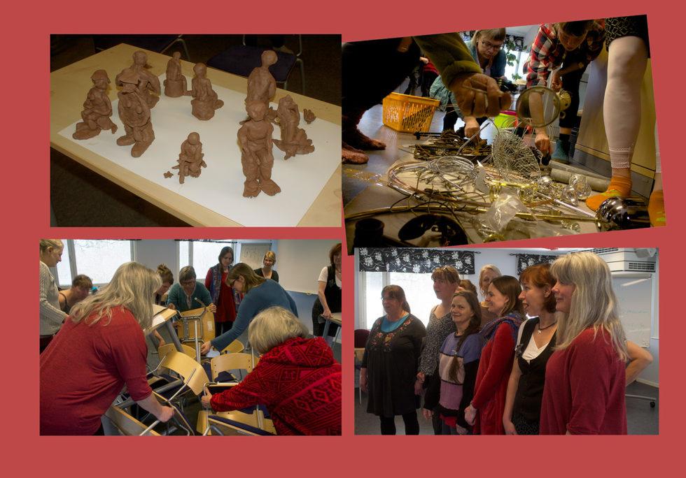 Fyra foton från utbildning för konstnärer att bli workshopledare, med skulpturer och samarbetsövningar.