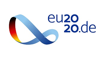 Bild på logotypen föreställande ett Möbiusband som är blått på utsidan och har de tyska färgerna på insidan