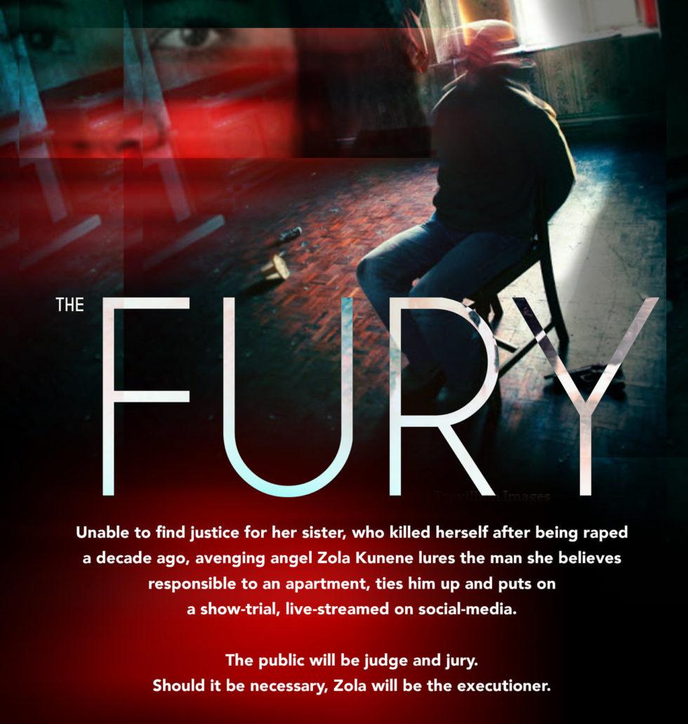 Poster för Indie-filmen The Fury som spelas in just nu i Johannesburg, med stränga covid-regler för hela produktionen.