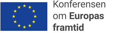Logotyp för Konferensen om Europas framtid med EU-flaggan