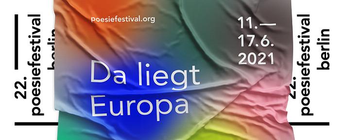 Affischbild med ett tyg i starka färger med texten Da liegt Europa.