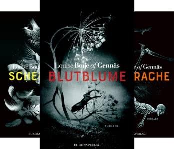 Omslagsbilder på de tre böckerna Blutblume, Scheintod och Feuerrache.