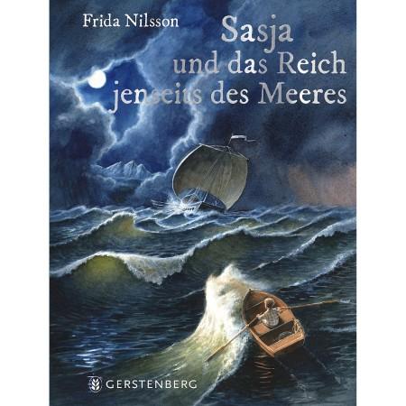 Bild på bokomslag med ett stormigt hav, ett barn i en roddbåt och ett segelfartyg.